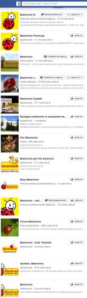 Biedronka - lista nieoficjalnych stron Facebook